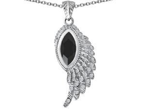 Star K Angel Wing Pendant with Marquise Shape Simulated Black Onyx in Sterling Silver