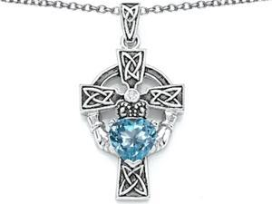 Celtic Love by Kelly Claddagh Cross pendant with 7mm Heart Shape Simulated Aquamarine in Sterling Silver