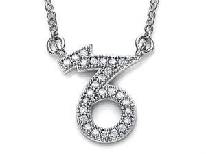 Zoe R Sterling Silver Micro Pave Hand Set Cubic Zirconia CZ Capricorn Zodiac Pendant Necklace On 18 Inch Adjustable C
