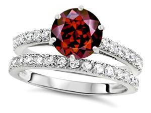 Star K Round 7mm Simulated Garnet Wedding Ring in Sterling Silver Size 7