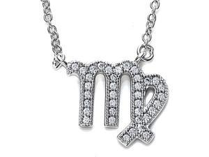 Zoe R Sterling Silver Micro Pave Hand Set Cubic Zirconia CZ Virgo Zodiac Pendant On 18 Inch Adjustable Chain