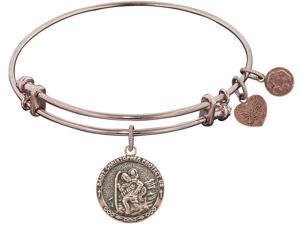 Angelica Collection St. Christopher Expandable Bangle in Brass