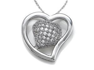 Zoe R Sterling Silver Micro Pave Hand Set Cubic Zirconia CZ Heart Shape Pendant On 18 Inch Chain