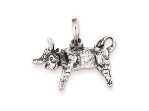 Sterling Silver Antiqued Taurus Pendant Chain Included
