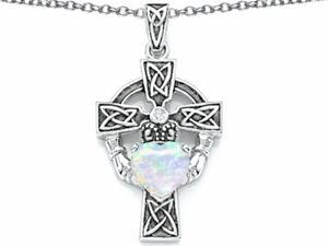 Star K Claddagh Cross pendant with 7mm Heart Shape Simulated Opal in Sterling Silver