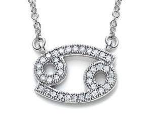 Zoe R Sterling Silver Micro Pave Hand Set Cubic Zirconia CZ Cancer Zodiac Pendant On 18 Inch Adjustable Chain