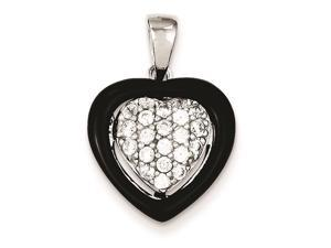 Sterling Silver Onyx and Cubic Zirconia Heart Pendant Necklace Chain Included