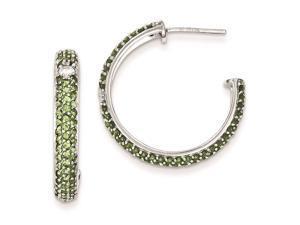 Sterling Silver Green and Clear Cubic Zirconia Half Hoop Post Earrings