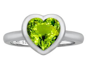Star K 8mm Heart Shape Solitaire Ring with Simulated Peridot in Sterling Silver Size 8