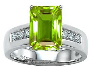 Star K Classic Octagon Emerald Cut 9x7 Ring with Simulated Peridot and Cubic Zirconia in Sterling Silver Size 7