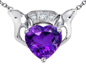 Celtic Love by Kelly 8mm Heart Claddagh Pendant with Simulated Amethyst in Sterling Silver