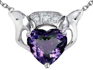 Star K 8mm Heart Claddagh Pendant with Simulated Alexandrite in Sterling Silver