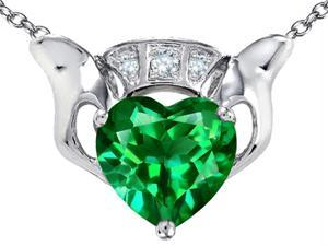 Celtic Love by Kelly 8mm Heart Claddagh Pendant with Simulated Emerald in Sterling Silver