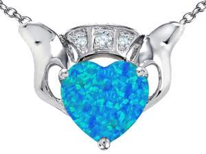 Celtic Love by Kelly 8mm Heart Claddagh Pendant with Heart Shape Blue Simulated Opal in Sterling Silver