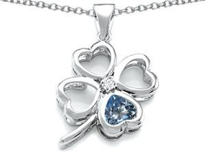 Celtic Love By Kelly Large 7mm Heart Shape Simulated Aquamarine Lucky Clover Heart Pendant in Sterling Silver