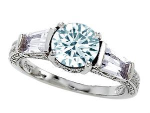 Star K Genuine Aquamarine Ring in Sterling Silver Size 8