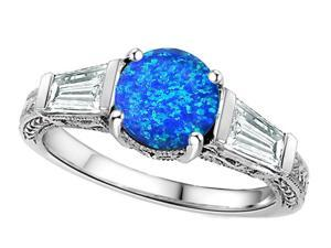 Star K Round 7mm Simulated Blue Opal Ring in Sterling Silver Size 6