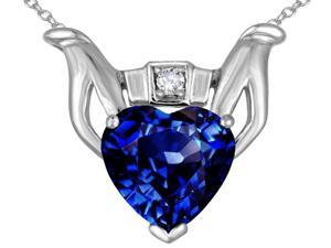 Star K Claddagh Love Pendant with 8mm Heart Created Sapphire in 14 kt White Gold