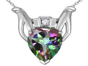 Star K Claddagh Love Pendant with 8mm Heart Rainbow Mystic Topaz in 14 kt White Gold