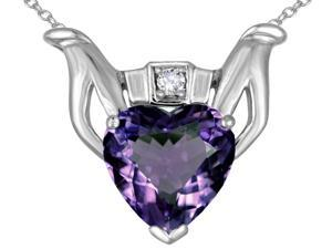 Star K Claddagh Love Pendant with 8mm Heart Simulated Alexandrite in 14 kt White Gold
