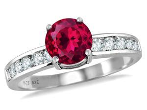 Star K Round 7mm Created Ruby Ring in Sterling Silver Size 7