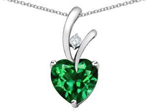 Star K 1.95 Cttw Heart Shaped 8mm Simulated Emerald Pendant Necklace