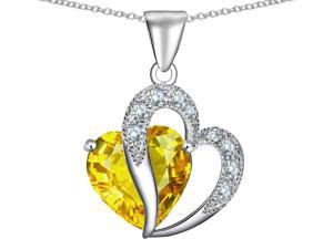 Star K Heart Shape 12mm Simulated Citrine Pendant in Sterling Silver