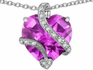Star K Large 15mm Heart Shape Created Light Pink Sapphire Love Pendant in Sterling Silver