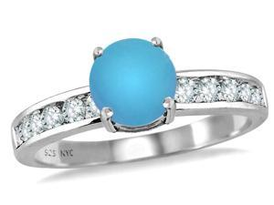 Star K Round 7mm Simulated Turquoise Ring in Sterling Silver Size 5