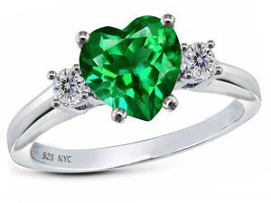 Star K 8mm Heart Shape Simulated Emerald Ring in Sterling Silver Size 6