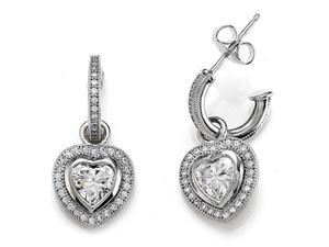 Zoe R Sterling Silver Micro Pave Hand Set Cubic Zirconia CZ One Row Small Hoop Earrings and Heart Shape