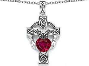 Celtic Love by Kelly Claddagh Cross pendant with 7mm Heart Shape Created Ruby in Sterling Silver