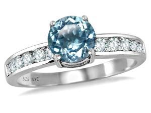 Star K Round 7mm Simulated Aquamarine Ring in Sterling Silver Size 7