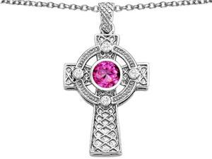Star K Celtic Cross pendant with 7mm Round Created Pink Sapphire in Sterling Silver