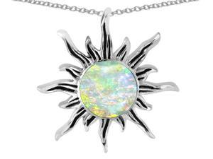 Star K Round Simulated Opal Flaming Sun Pendant in Sterling Silver