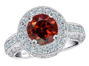 Star K 7mm Round Simulated Garnet Ring in Sterling Silver Size 5.5