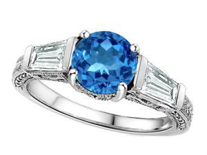 Star K Round 7mm Simulated Blue Topaz Engagement Ring in Sterling Silver Size 6