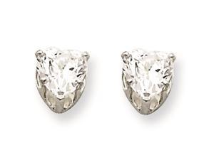 Sterling Silver 5mm Heart 3 Prong Cubic Zirconia Stud Earrings