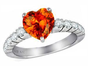 Star K 8mm Heart Shape Simulated Orange Mexican Fire Opal Ring in Sterling Silver Size 6