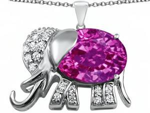 Star K Large 12x10mm Oval Created Pink Sapphire Good Luck Elephant Pendant in Sterling Silver