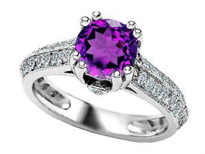 Star K Round Simulated Amethyst Ring in Sterling Silver Size 8