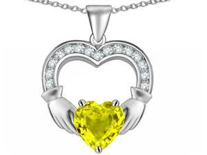 Celtic Love by Kelly Hands Holding 8mm Heart Claddagh Pendant with Simulated Yellow Sapphire in Sterling Silver