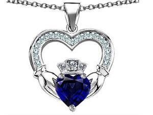 Celtic Love by Kelly Hands Holding 8mm Crown Heart Claddagh Pendant with Created Sapphire in Sterling Silver