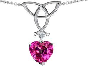 Celtic Love by Kelly Love Knot Pendant with 8mm Heart Shape Simulated Pink Tourmaline in Sterling Silver