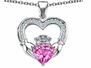 Celtic Love by Kelly Hands Holding 8mm Crown Heart Claddagh Pendant with Created Pink Sapphire in Sterling Silver