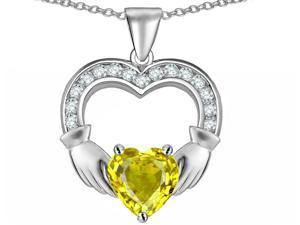 Celtic Love by Kelly Hands Holding 8mm Heart Claddagh Pendant with Simulated Citrine in Sterling Silver