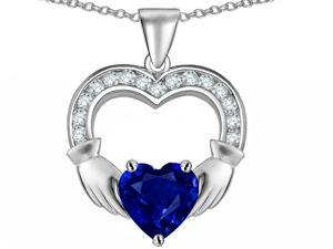 Celtic Love by Kelly Hands Holding 8mm Heart Claddagh Pendant with Created Sapphire in Sterling Silver
