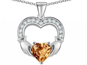 Celtic Love by Kelly Hands Holding 8mm Heart Claddagh Pendant with Simulated Imperial Yellow Topaz in Sterling Silver