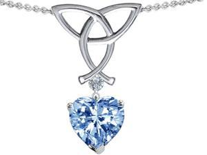 Celtic Love by Kelly Love Knot Pendant with 8mm Heart Shape Simulated Aquamarine in Sterling Silver