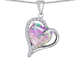 Star K Heart Shape 12mm Pink Simulated Opal Double Heart Love Pendant in Sterling Silver